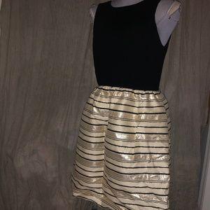 J.Crew NEW HOLIDAY gold sparkle stripe dress 4
